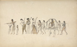 A procession featuring a guru being carried in a palanquin. Wall painting at Anegondi, January 1801